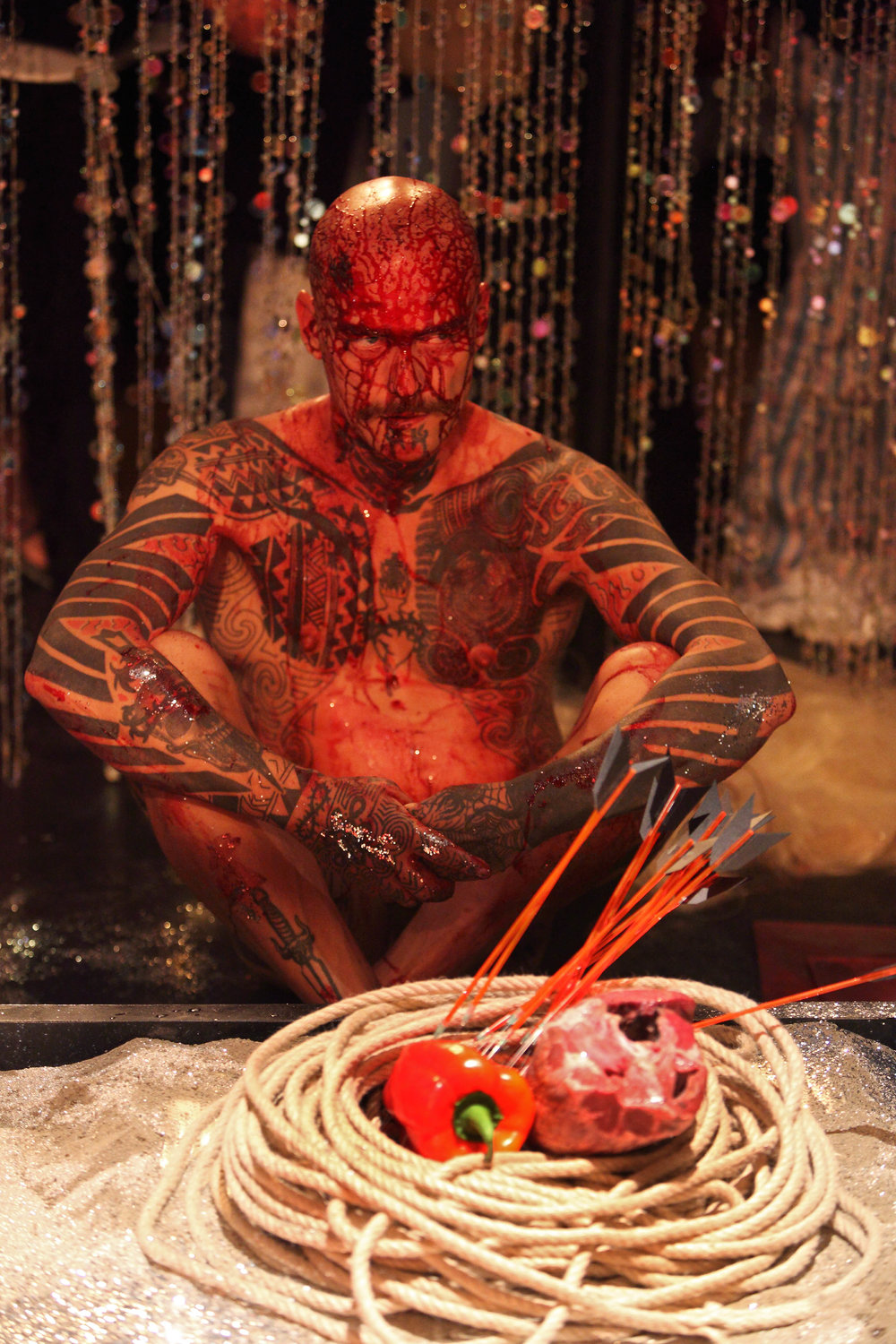 Ron Athey,  History of Ecstasy , sound design Othon Mataragas, vocalist Ernesto Tomasini, performers: Ron Athey, Julie Tolentino, Pigpen aka Lisa Rifkin, Vaginal Davis aka Clarence Sanders, Lee Adams, Mouse aka Amanda Hull, photo A. Benestante