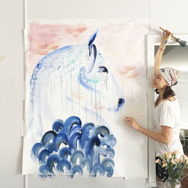 """ART ~ PEOPLE . . . . Meet @lauracranecreative Australian Horse and Landscapes Artist, Mother, and Friend. We first met Laura at the World Polo Championships in Sydney 2017 where she was commissioned as the Artist in residence. Since then we've been following her travels across the globe. We love watching her pop up in different destinations, curating blogs that allow her followers be apart of the journey. . . """"Horses and landscapes are a language of my heart. I have been captivated by the beauty and magesty of the horse my entire life. Their intensity and purity of spirit speaks directly to me and inspires me wholly. It brings me great joy and content sharing the beauty I see"""" . . . """"My work has taken on a new direction, while I'm still creating my energetic, refined, minimalist responses to a subject, I'm also working on some more complex and layered pieces which focus on a recurring macro to micro theme, creating worlds within worlds, built over time, in response to experiences in Argentina and spain"""" . . . Follow Laura at @lauracranecreative And @pony_ink"""