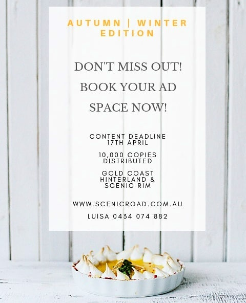 BOOK NOW! PAY LATER! . . If we're not already talking to you about advertising for the next edition, please get in touch today. Our deadline is looming! . . Simply book your space now so you don't miss out. 1/2 Page, Full Page, Double Page Spreads - Starting at $330 inclusive of beautiful artwork and design layout. . . Photography/ Social media content starting at $150 - this includes in store photo shoot and head shots. * exclusive rates to our Scenic Road customers ~ through Jade at @visualbrandinggc (Friendly conditions apply)