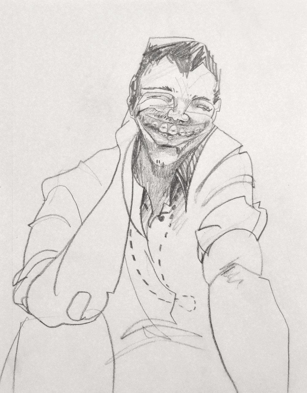 "Derrick  2016 9"" x 12"" graphite on paper"