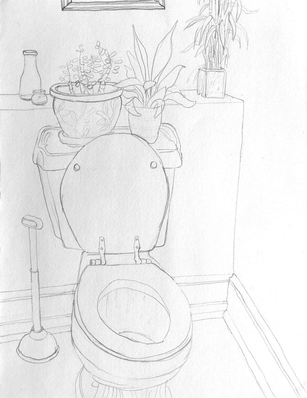"""Downstairs Bathroom  2018 9"""" x 12"""" graphite on paper"""