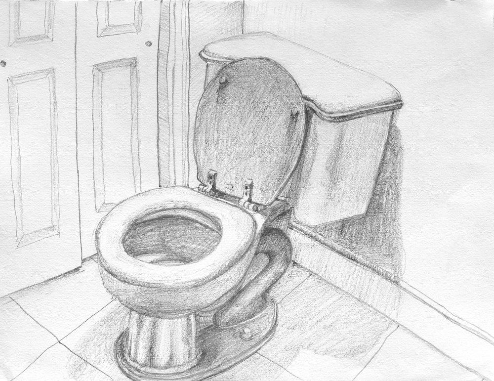 "Studio Bathroom  2018 12"" x 9"" graphite on paper"