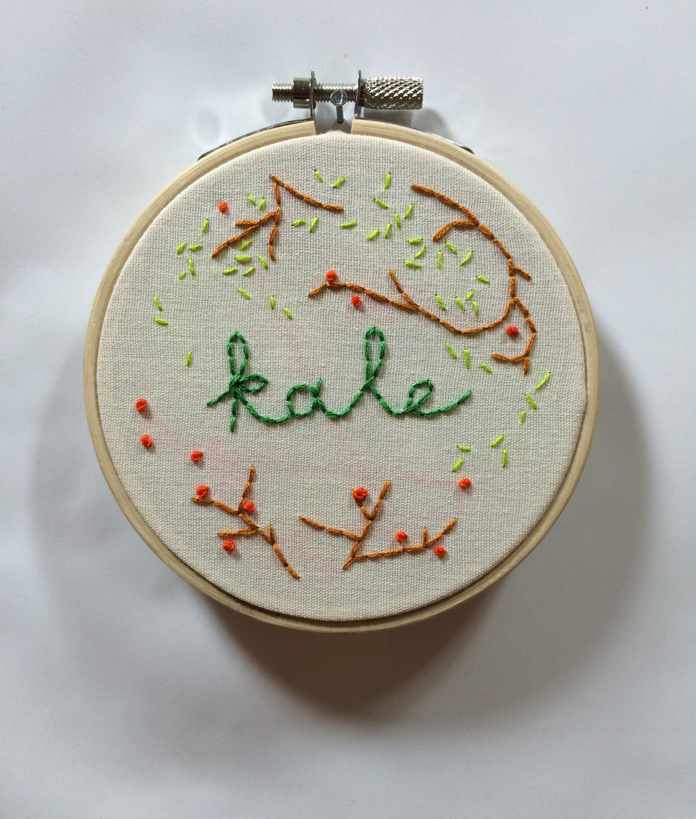 "Kale  2015 4"" embroidery"