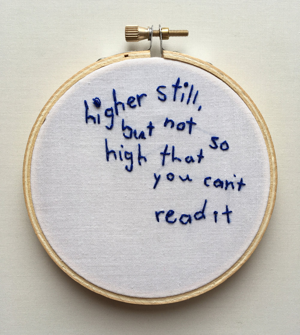 "Higher Still  2017 4"" embroidery"