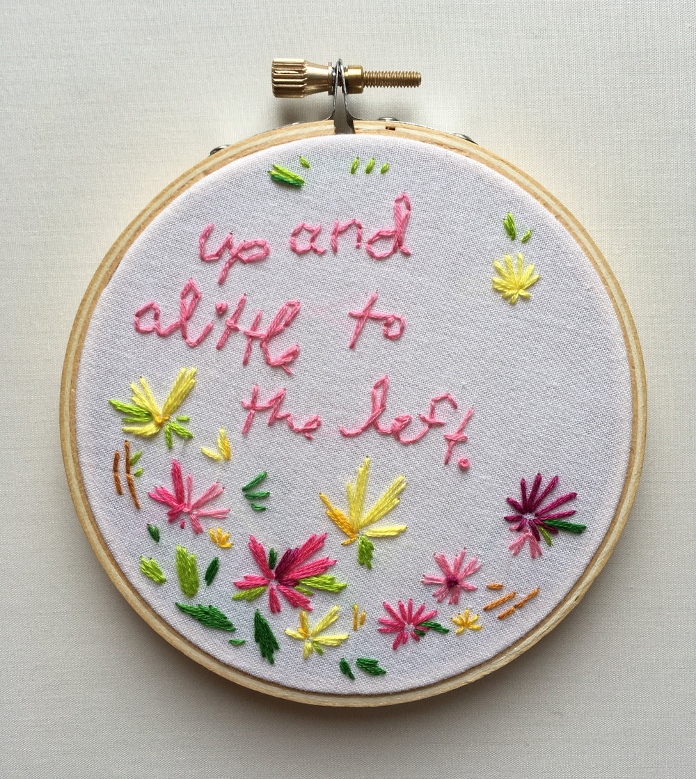 "Up and A Little to the Left  2017 4"" embroidery"