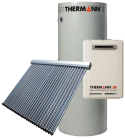 Thermann evacuated tube solar gas boosted hot water systems offer reliability and efficiency. Passive sun tracking means more of the suns rays are converted to usable hot water throughout the day - reducing your power bills.