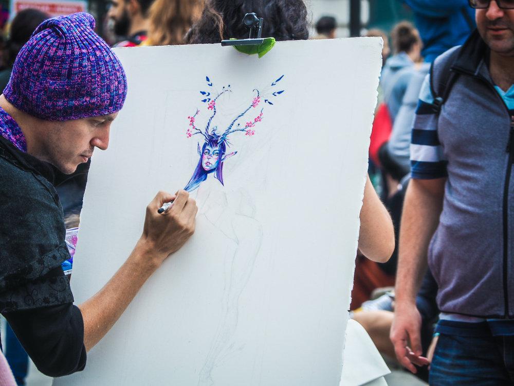Creating a fairy - street art