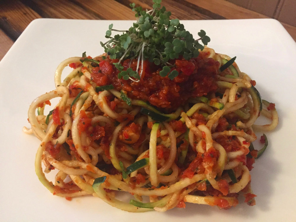 Raw Zucchini Pasta Marinara - This is a raw dish bursting with flavor and a twist on traditional pasta.