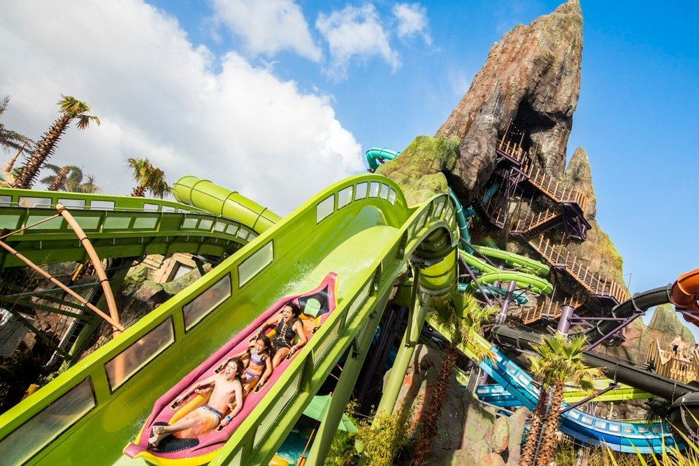 """WATER PARK - Volcano Bay is the newest park addition to Universal Orlando, built around the two-hundred foot tall Krakatau """"volcano"""" that supports many of the park's water rides, including the Krakatau Aqua Coaster and Ko'okiri Body Plunge, a seventy-degree, 125-foot tall speed slide."""