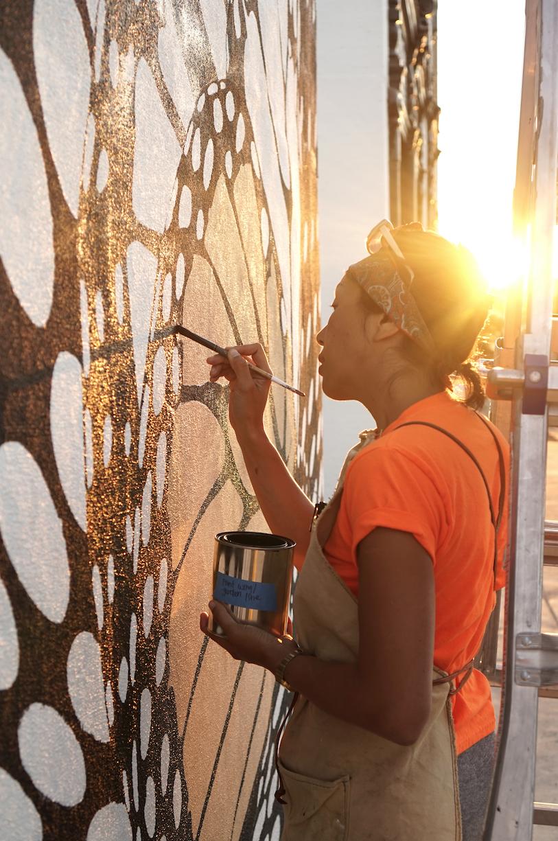 Artist Jane Kim working on Monarch in Moda.