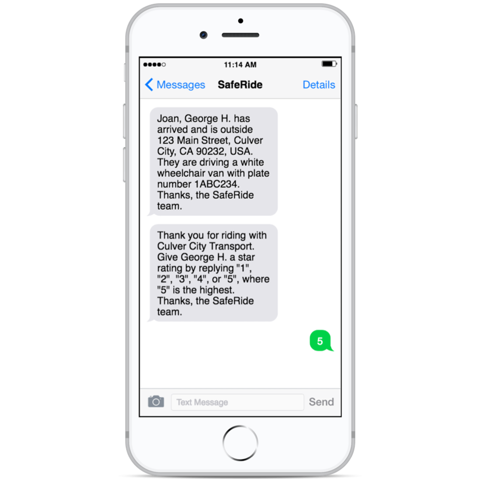 ride update notifications - With SafeRide, you no longer have to worry about miscommunications. Timely SMS notifications regarding vehicle and driver information, real-time status updates, and post-ride feedback help you stay connected and informed.