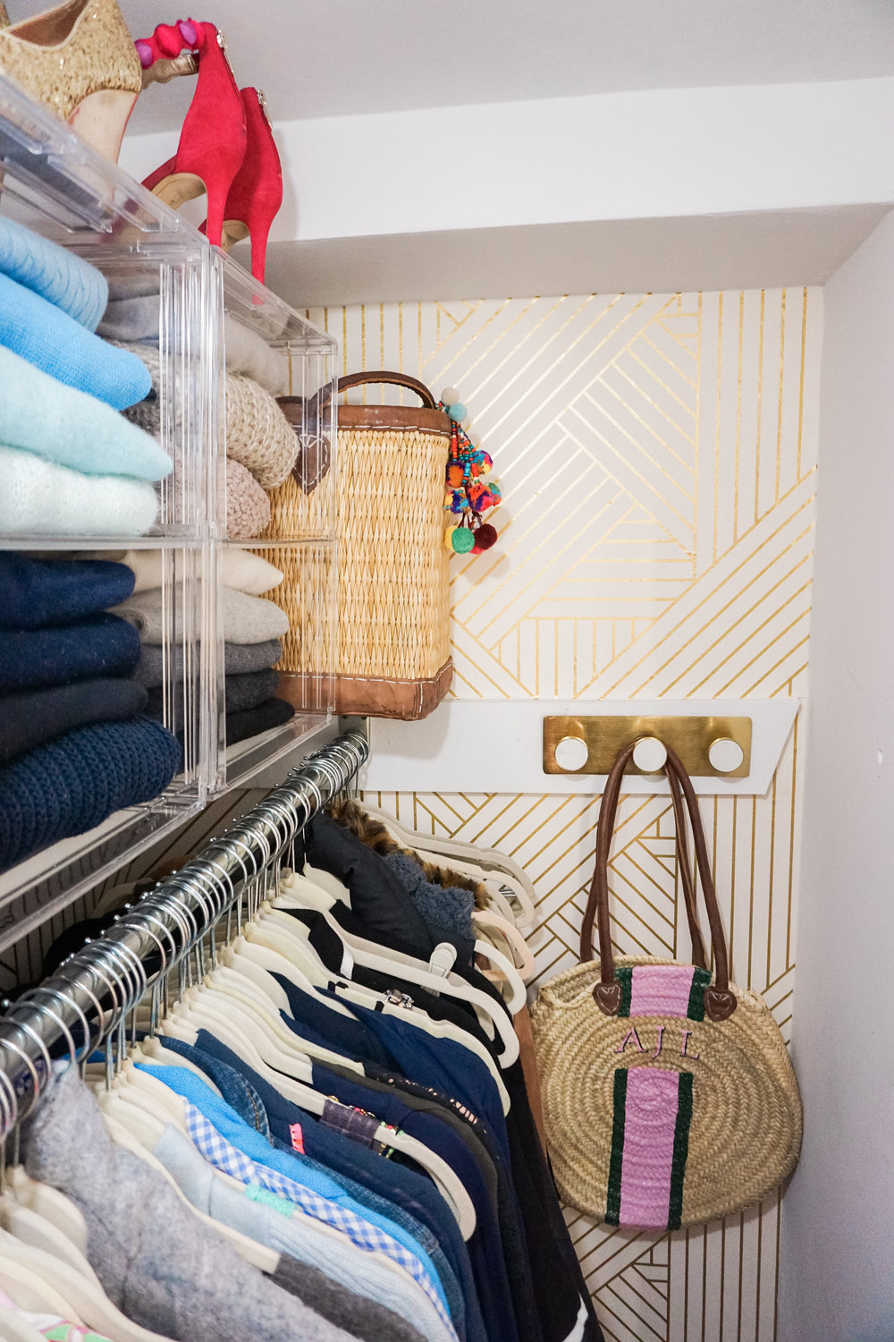 House of Turk | Closet Organization, Wall Hooks with Wallpaper