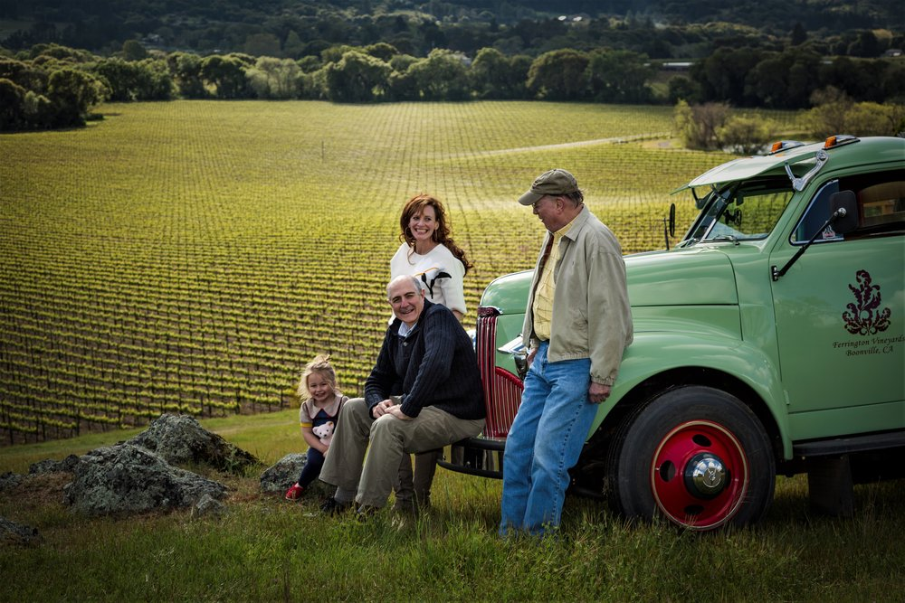Sarah, Guy, Kurt, and Ella near the family Studebaker, beautifully restored, on a sunny day in Anderson Valley, Mendocino County's wine country