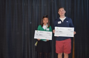 Students soared to victory at the annual Youth Entrepreneurs event, The Flyers, on April 28. Taking the top spots in Topeka's business plan competition were: (Left to Right) Student Business Plan High School 2nd Place Huyen Nguyen Coffee Luv Topeka West High School 1st Place David Walker Guardian Self Storage Topeka High School