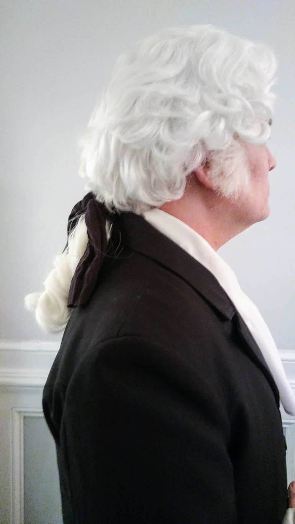 There was a lack of colonial style wigs available because of the popular Hamilton musical. I created this from 2 different wigs for our George Washington character. DEADZ by the Migos, 2017.