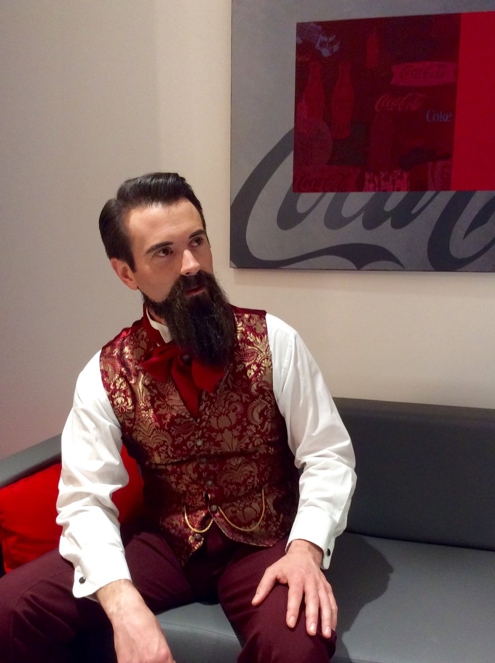 Specialty costume for Doc Pemberton Impersonator. Coca-Cola Townhall Videos, 2016.