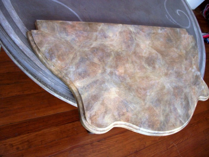 Marblelized painted wooden table top, 2007.