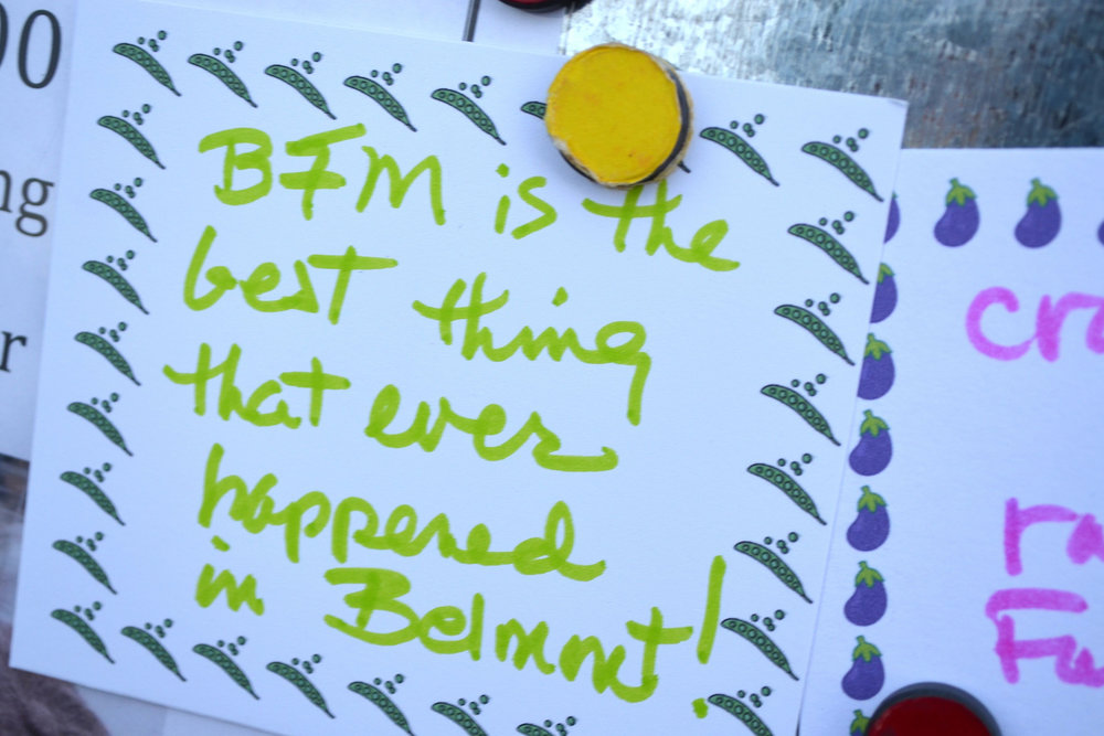"""Customer comment card: """"BFM is the best thing that ever happened in Belmont!"""""""