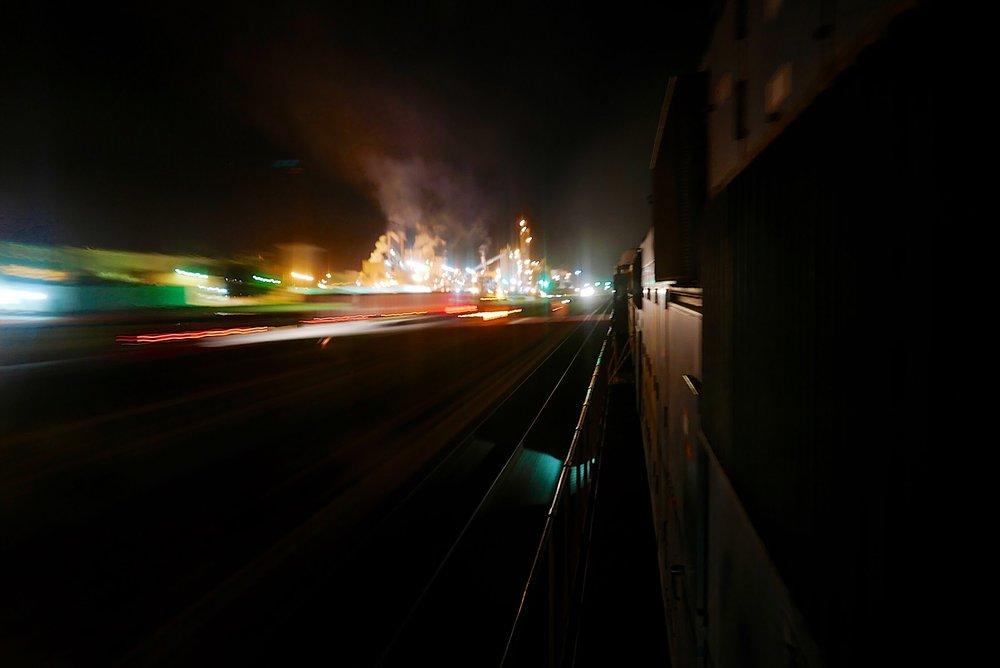 November 2018 - Westbound rack train toward St. Louis.