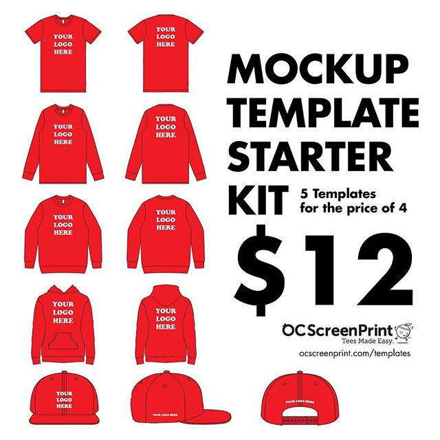 Stepping up your mock-up game just got easy. Try one of our custom designed mock-up templates ⚡️🙌🏻 Visit ocscreenprint.com/templates to see our current resources! - #MockupsMadeEasy
