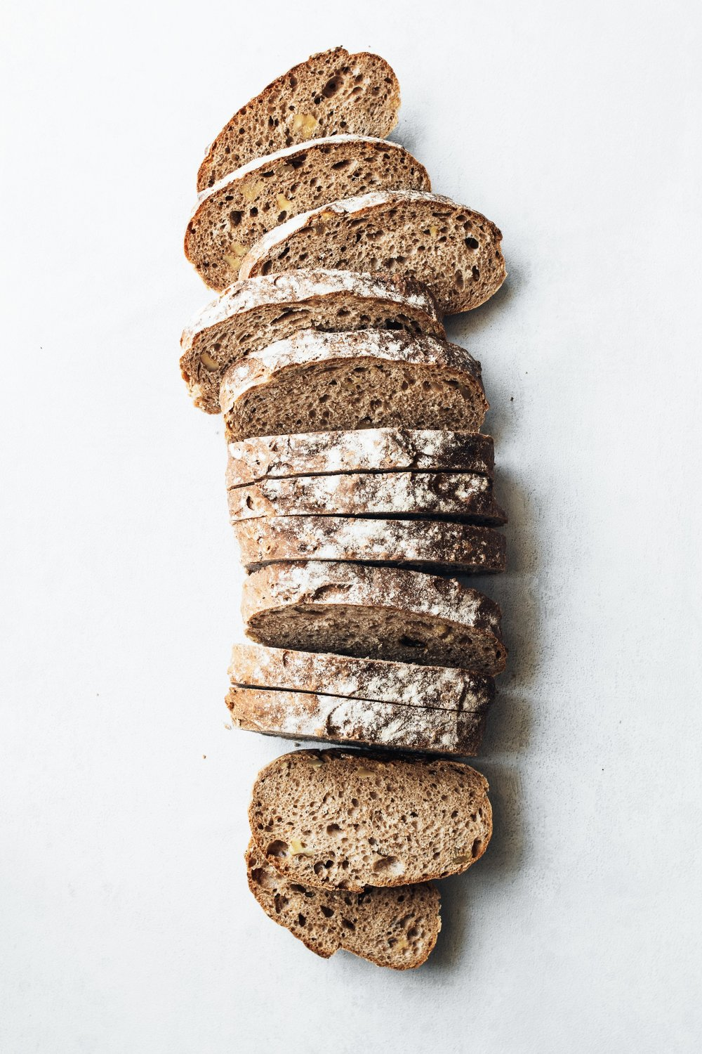 We use only the finest ingredients.  Our products have no added chemicals, preservatives, or animal fats. We use only non-bromated flours. Our breads are low in fat and high in fiber with very low salt content. -