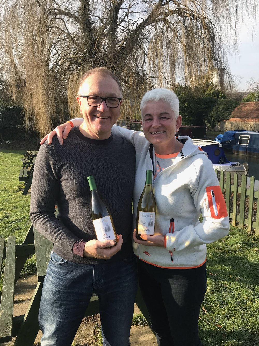 Adlum across the ocean….delighted to meet Jackie Adlum at Kidlington, Oxford to hand deliver Williamsburg Winery John Adlum Chardonnay.