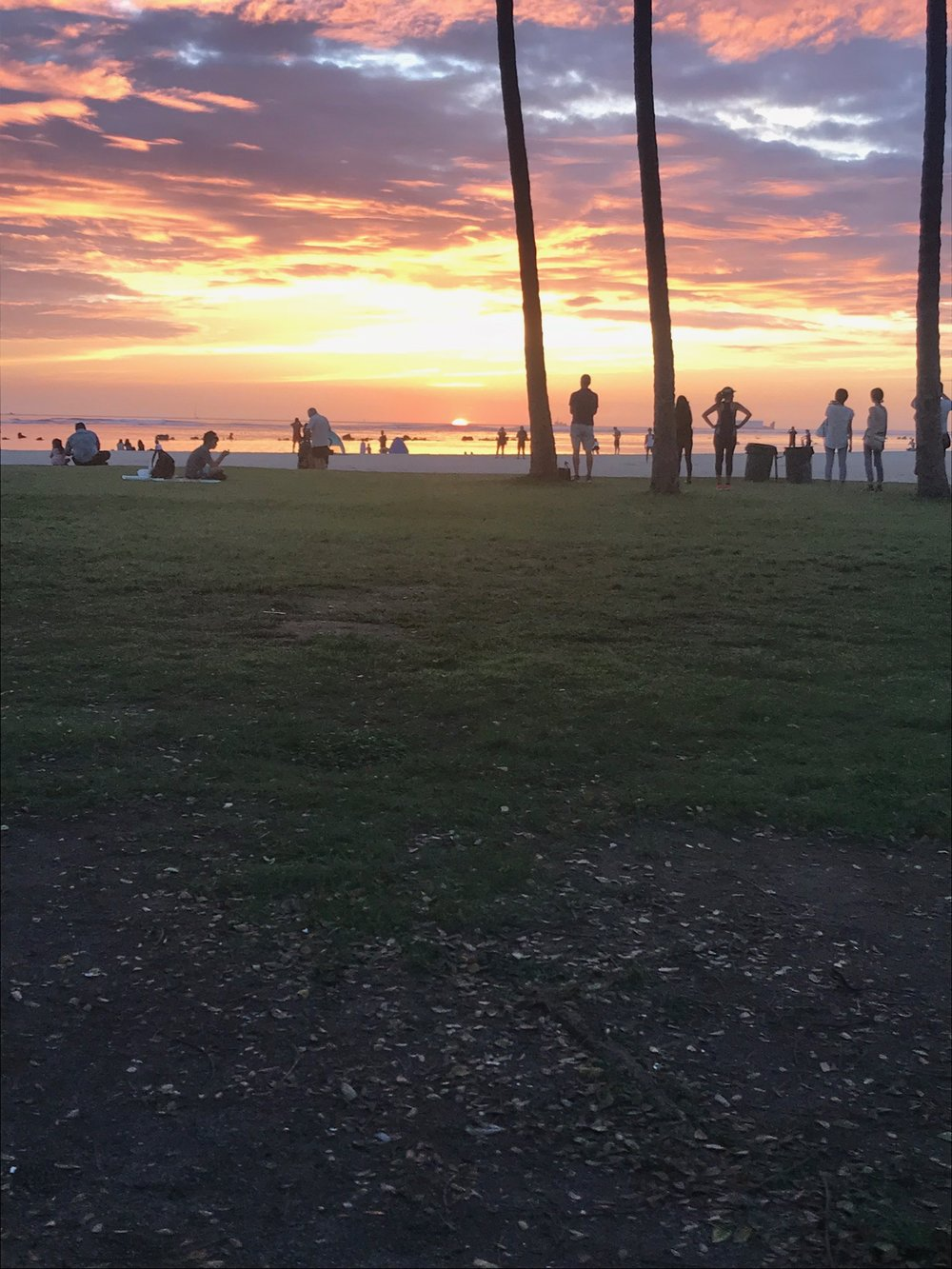 Ala Moana Beach Park, Sunset. February 2018