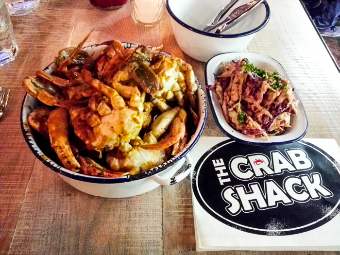 The Crab Shack. 1 kg of Nelson paddle crab in lemongrass, chilli, coriander tomato sauce... rather like a Malaysian sambal.