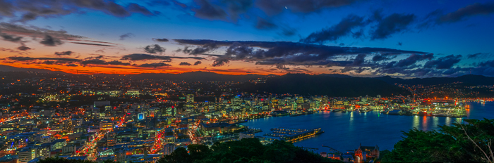 Mount Victoria lookout panorama. Great place for sunsets in Wellington itself.