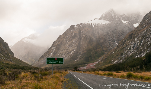 Nearly there... Milford Sound: Plenty of spectacular hills framing the drive