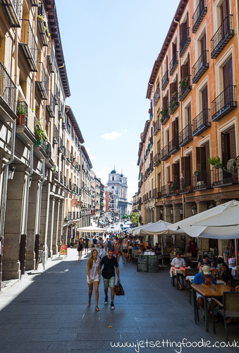 The streets of Madrid. View from Plaza Mayor