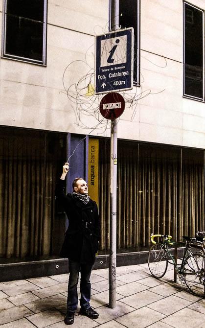 Andreas embracing/creating street art...