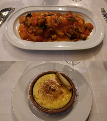 I had a very tasty (and decent sized) cod dish (a house specialty)followed by the classic crema catalana.