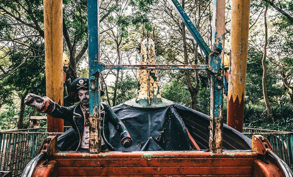 Viking Ship manned by a pirate at the Abandoned Amusement Park.