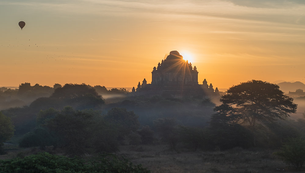 Secret viewing to see Bagan's best sunrise spot, with a silhouette of Sulamani temple.