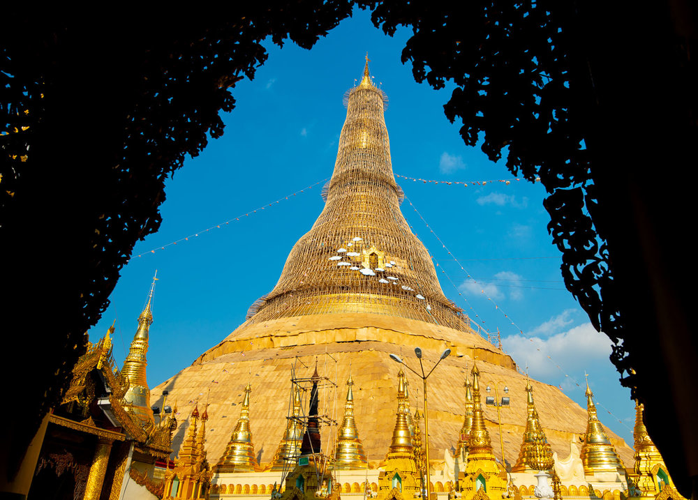 Shwedagon Pagoda in Yangon was undergoing maintenance and is under scaffolding when I visited in December 2018.
