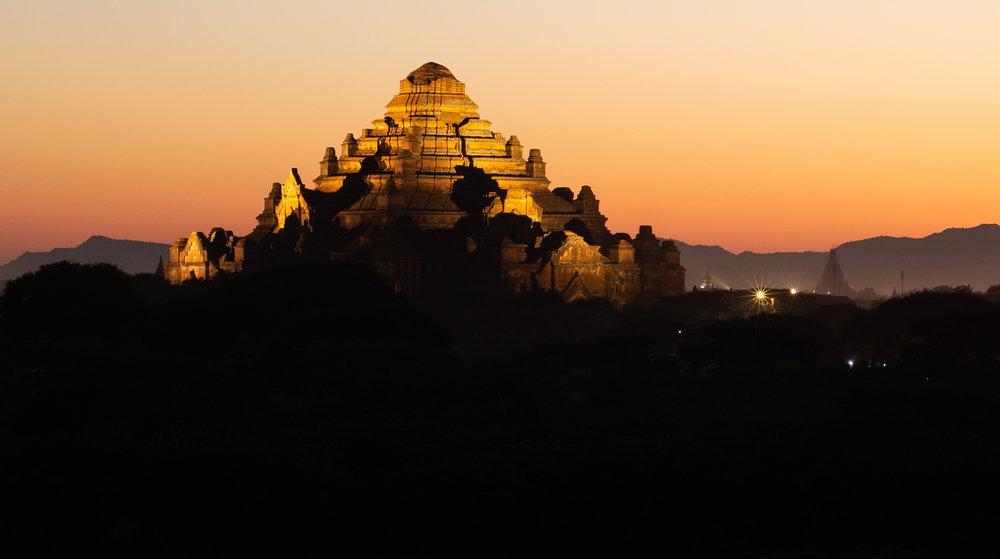 Bagan - Dhammayangyi Temple lit up after dark