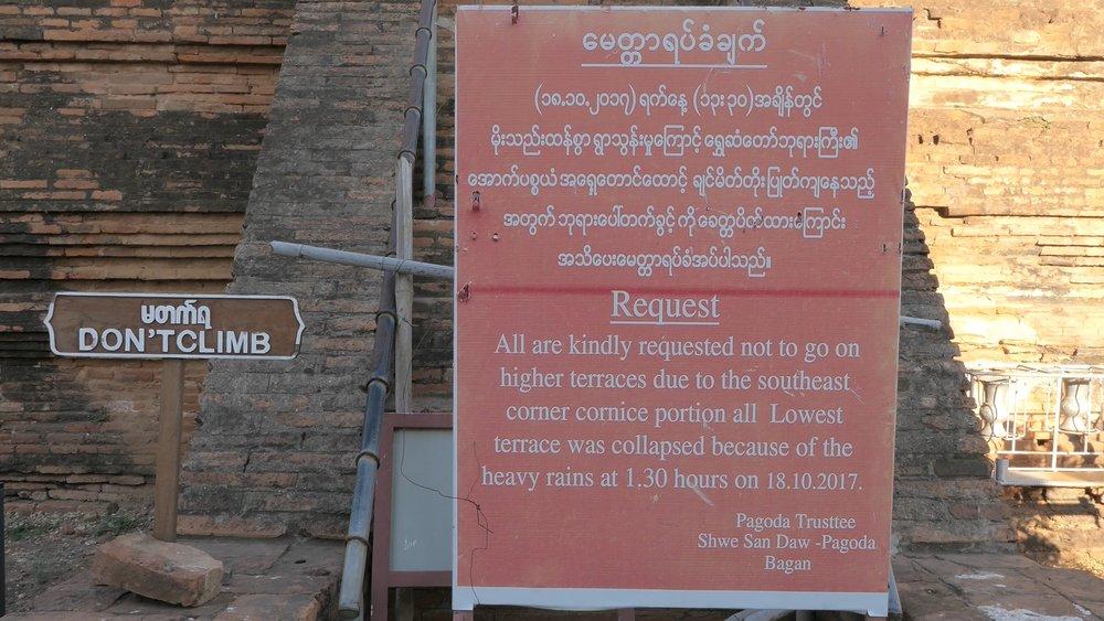Climbing the Shwesandaw Pagoda is forbidden (since 2017).