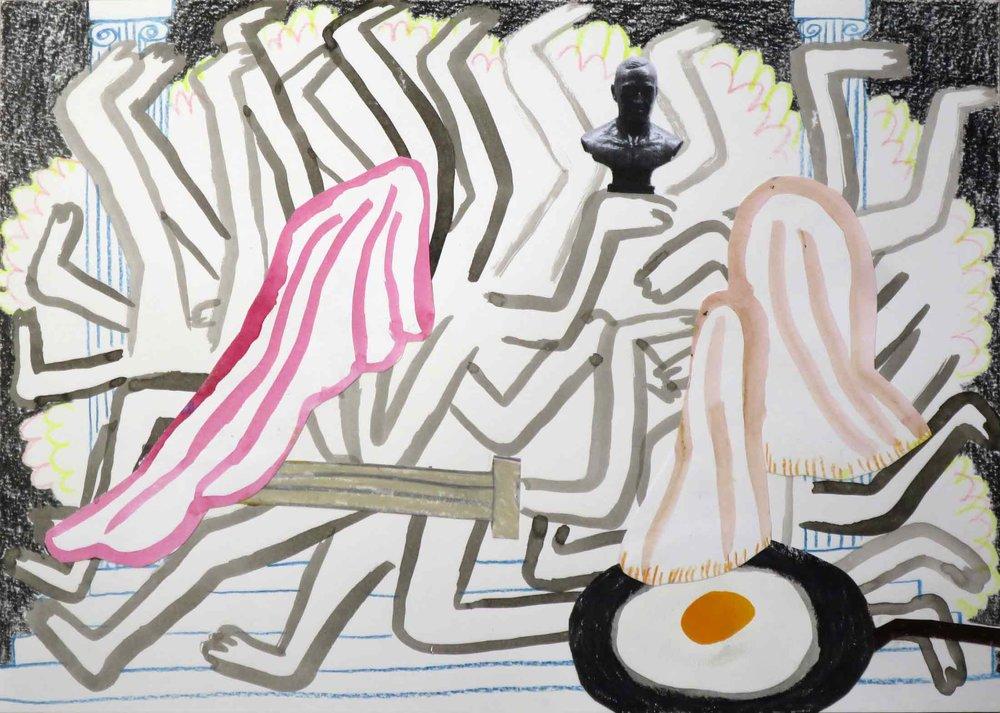 Badminton & Roquefort  collage; potlood, aquarel, fotokopie, inkt, gouache 21 x 29 cm, 2016