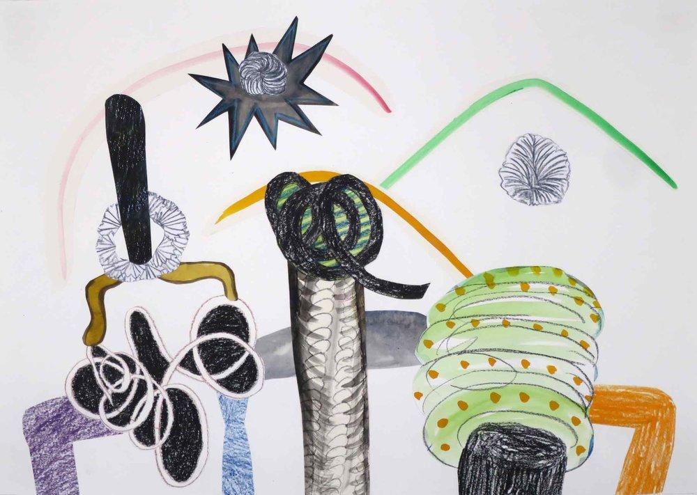 Uit de serie  De komst van de hendels (Arrival of the handles)  collage; potlood, inkt, gouache 29 x 42 cm, 2016
