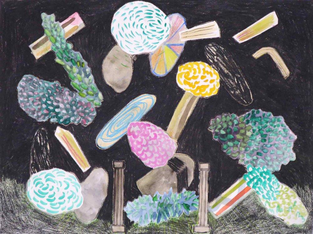 Uit de serie  De komst van de hendels (Arrival of the handles)  collage; potlood, inkt, aquarel, gouache 24 x 32 cm, 2016