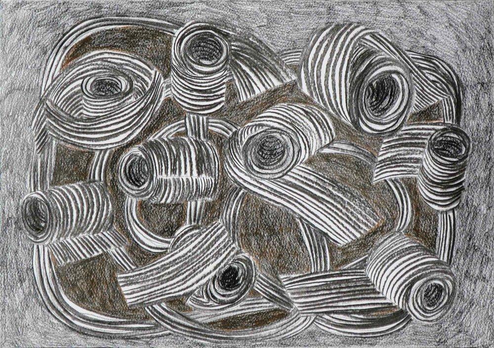 Ornament  houtskool, potlood 29 x 42 cm, 2015