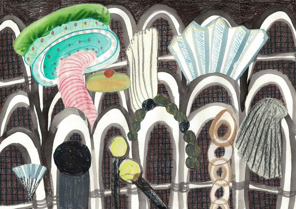 Uit de serie  De komst van de hendels (Arrival of the handles)  collage; potlood, aquarel 21 x 29 cm, 2016