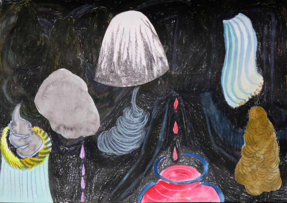 Verlichting (Enlightenment)  collage; houtskool, potlood, gouache, aquarel 21 x 29 cm, 2016