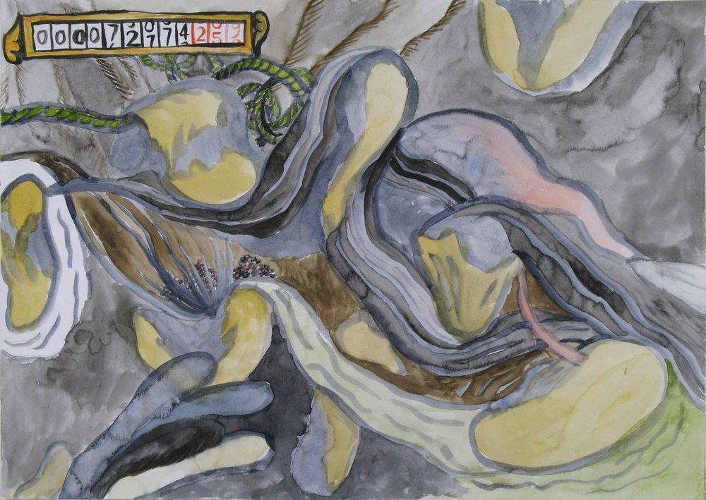 De meter (The meter)  aquarel, gouache 29 x 42 cm, 2010