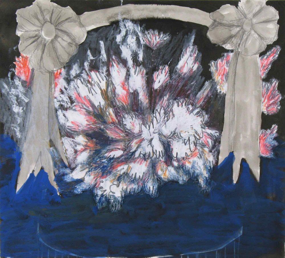 Einde van het jaar (End of the year)  inkt, gouache, potlood, oliekrijt 23 x 25 cm, 2010, privécollectie