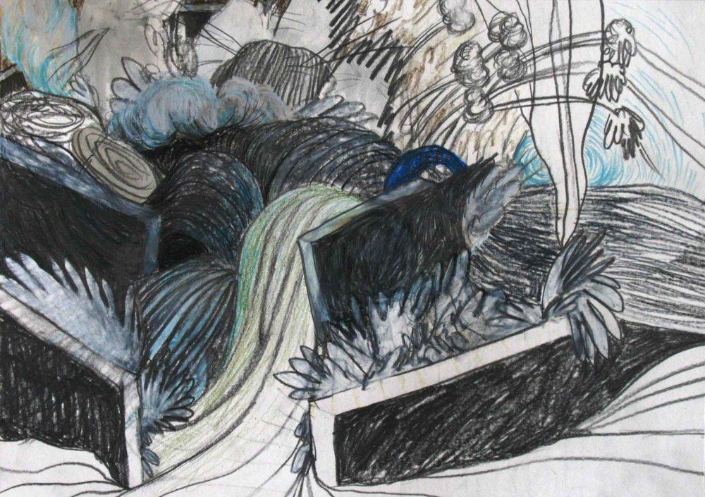 Hoe nieuwe kapsels deuren openen (How new hairdos open doors)  potlood, aquarel 27 x 38 cm, 2010