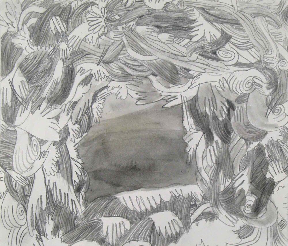 Scheef uitzicht (Crooked view)  potlood, aquarel 23 x 26 cm, 2010