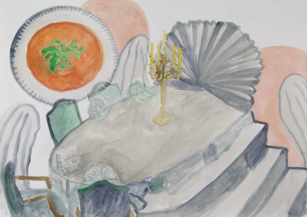 Soep van de dag (Soup of the day)  aquarel, gouache 29 x 42 cm, 2011, privécollectie