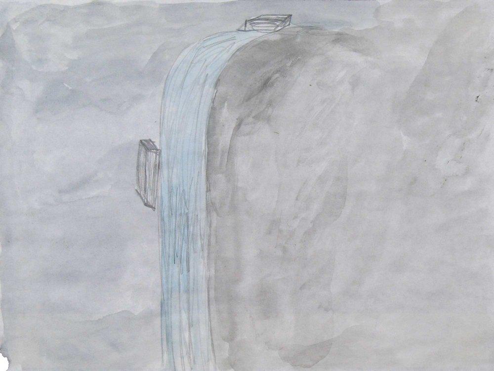Waterval met bakstenen (Waterfall with bricks)  potlood, aquarel 21 x 29 cm, 2008